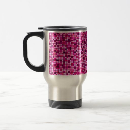 Shades Of Pink With Black Squares Pattern Coffee Mug