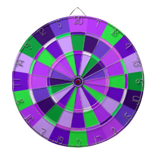 Shades of Purple and Green Game Room Dartboard