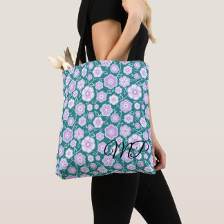 Shades of Purple Flowers w/Blue Background Tote Bag