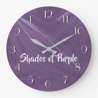 Shades of Purple Gold n Blue Your Text Both Sides Large Clock