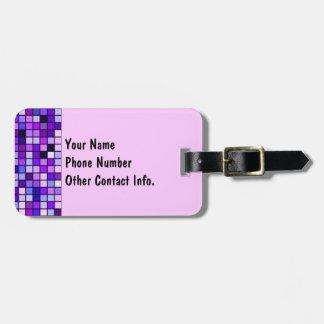 Shades Of Purple 'Grape Soda' Squares Pattern Luggage Tag