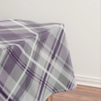 shades of purple on gray diagonal plaid tablecloth
