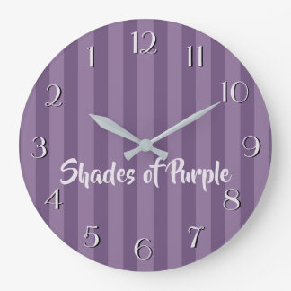 Shades of Purple Stripes Your Text Large Clock