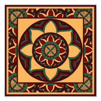 Shades of Red and Green Mandala with Border Photograph