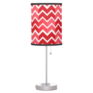 Shades of Red Horizontal Chevron Stripes Table Lamps