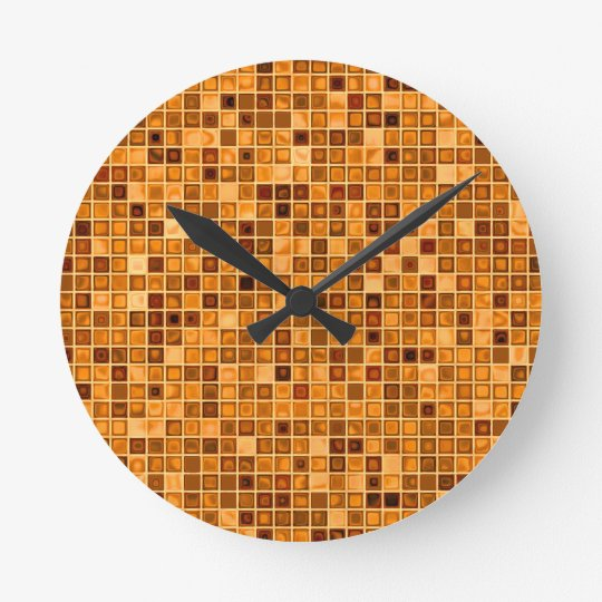 Shades Of Rust 'Watery' Mosaic Tile Pattern Clock