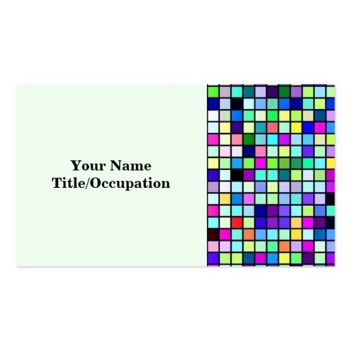 Shades Of Spring Multicolored Squares Pattern Business Cards
