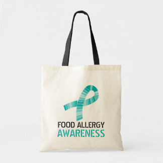 Shades of Teal Ribbon Food Allergy Awareness Tote Bag