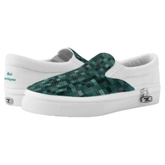 Shades Of Teal Slip-On Sneakers