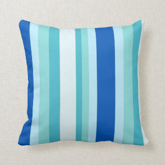 Shades of Tropical Blue Colorful Striped Throw Pillow