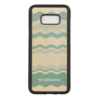 : Shades of Turquoise Waves Pattern Carved Samsung Galaxy S8+ Case
