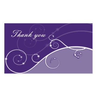 shades of violet and swirls thank you pack of standard business cards