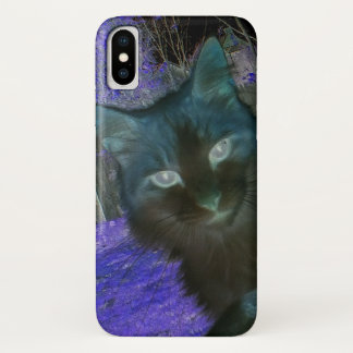 Shadow Cat in Lavender iPhone X Case