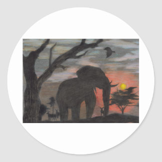 Shadow Elephant Round Sticker