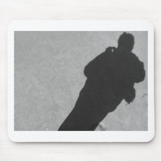 Shadow of a photographer on the sand beach mouse pad
