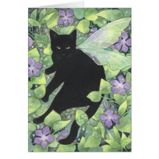 Shadow of Periwinkle - Fantasy Fairy Cat Art Card