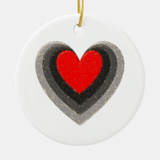 Shadow of the heart - red hot inside round ceramic ornament