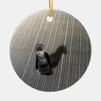 Shadow Penguin Round Ceramic Ornament