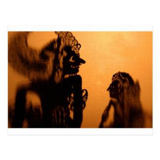 Shadow puppets Wayang kulit Postcard