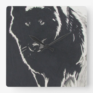 Shadow Wolf Square Wall Clock