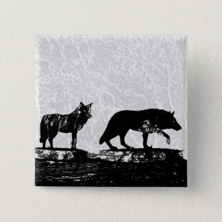 Shadow Wolves 2 Inch Square Button