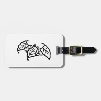 Shadowed bat-shaped oak leaves luggage tag