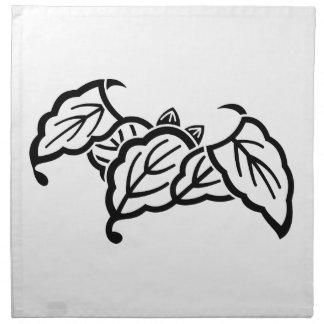 Shadowed bat-shaped oak leaves printed napkins