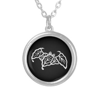 Shadowed bat-shaped oak leaves silver plated necklace