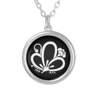Shadowed butterfly-shaped Plum blossom (Ageha cho) Silver Plated Necklace