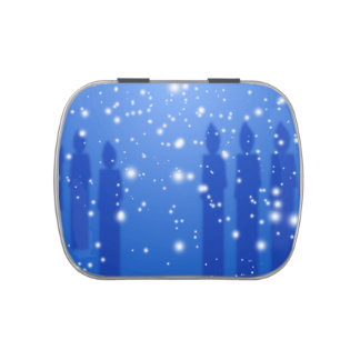 Shadowed Candles in blue with snow candy tin