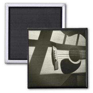 Shadowed Guitar Square Magnet
