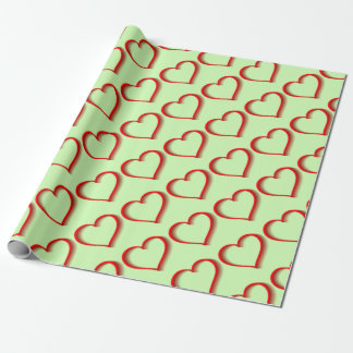 Shadowed Red Heart Wrapping Paper
