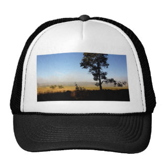 Shadows fade to day and fog receeds trucker hat