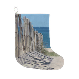 Shadows in the sand, beach fence and ocean beach large christmas stocking