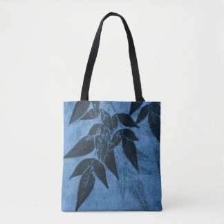 Shadows of Leaves on Blue Tote Bag