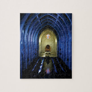 shadows of the dark blue church jigsaw puzzle