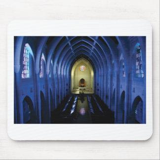shadows of the dark blue church mouse pad