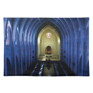 shadows of the dark blue church placemat