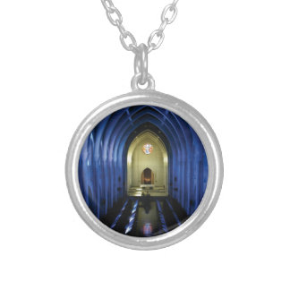 shadows of the dark blue church silver plated necklace