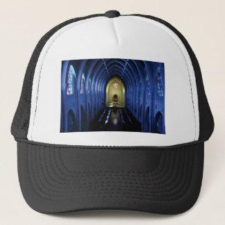 shadows of the dark blue church trucker hat