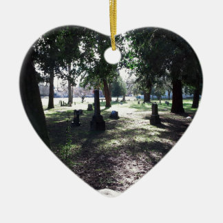 Shadowy Cemetery Ceramic Heart Ornament