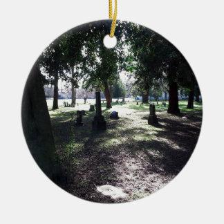 Shadowy Cemetery Round Ceramic Ornament