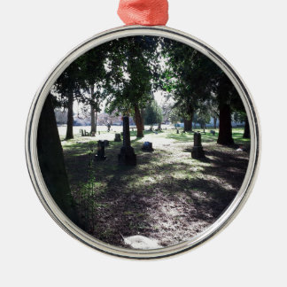 Shadowy Cemetery Silver-Colored Round Ornament