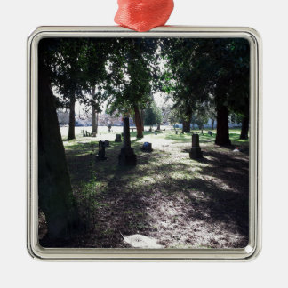 Shadowy Cemetery Silver-Colored Square Ornament