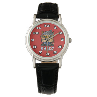 """""""Shady"""" Classic Womens Black Leather Wristwatch"""
