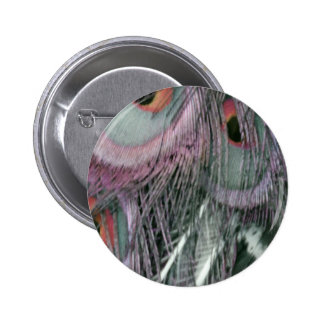 Shady Gray Past Peacock 2 Inch Round Button