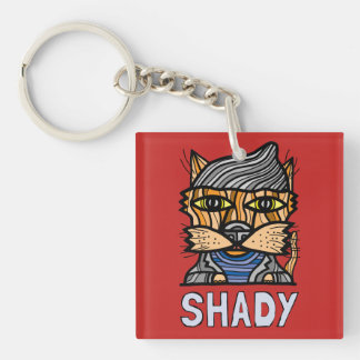 """Shady"" Square (double-sided) Keychain"