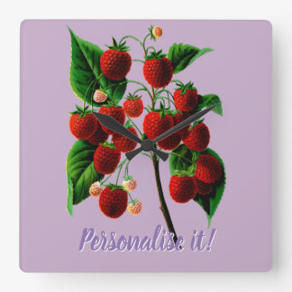 Shafer's colossal raspberries square wall clock