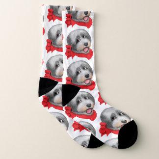 Shaggy Collie Dog Stretch Crew Socks 1
