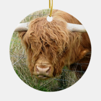 Shaggy Highland Cow Ceramic Ornament